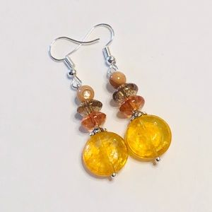 Golden Earth Tones Quartz Crystal & MOP Earrings